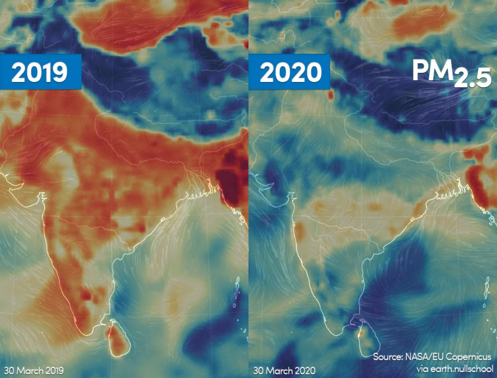 Satellite images show much cleaner air over India and the world during Coronavirus lockdowns