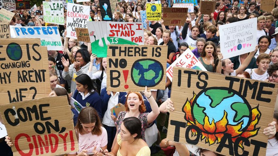 Across the world school children walk united against climate change