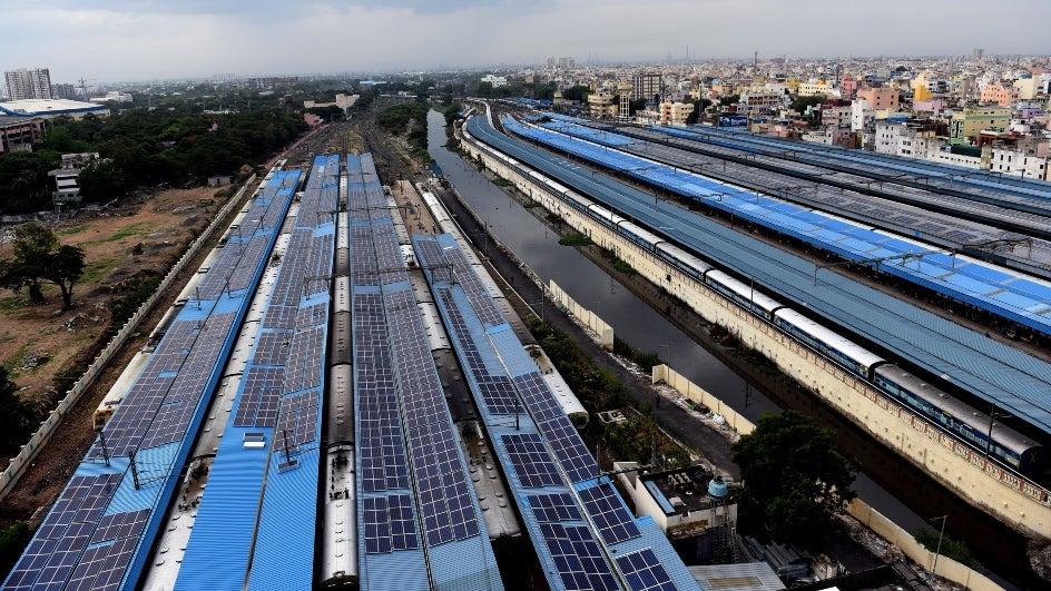 Solar power plants along railway tracks